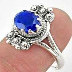 925 sterling silver 2.81cts solitaire natural blue sapphire ring size 8.5 t40653