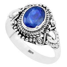 925 sterling silver 2.14cts solitaire natural blue sapphire ring size 7.5 t5320