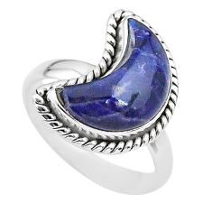 925 sterling silver 5.53cts moon natural blue sodalite ring size 8 t22137