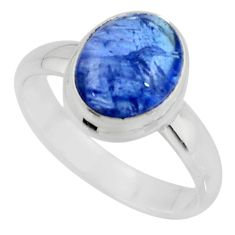 925 sterling silver 4.22cts solitaire natural blue tanzanite ring size 7 r51190