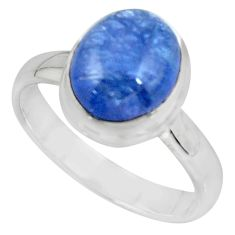925 sterling silver 4.22cts solitaire natural blue tanzanite ring size 7 r51197
