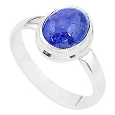 925 sterling silver 3.11cts solitaire natural blue tanzanite ring size 7 t14863