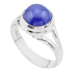 925 sterling silver 5.11cts solitaire natural blue tanzanite ring size 7 t44706