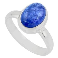 925 sterling silver 2.98cts solitaire natural blue tanzanite ring size 8 r51185