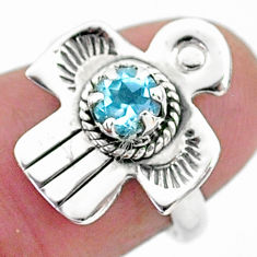 925 sterling silver 0.95cts solitaire natural blue topaz bird ring size 6 t6365
