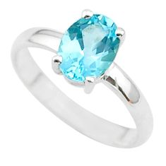 925 sterling silver 2.28cts solitaire natural blue topaz oval ring size 6 t33717