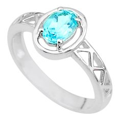 925 sterling silver 1.56cts solitaire natural blue topaz oval ring size 6 t8917