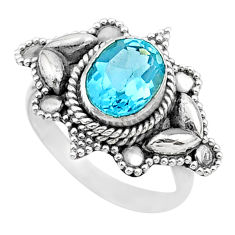 925 sterling silver 3.13cts solitaire natural blue topaz oval ring size 7 t27588