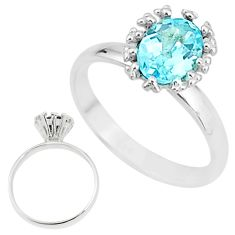 925 sterling silver 2.17cts solitaire natural blue topaz oval ring size 7 t7224