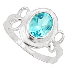 925 sterling silver 2.38cts solitaire natural blue topaz oval ring size 8 r40510