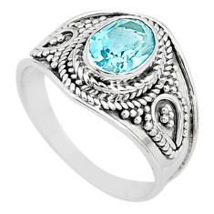 925 sterling silver 2.11cts solitaire natural blue topaz oval ring size 8 t10175