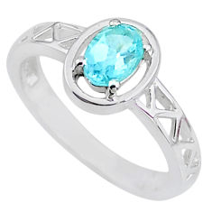 925 sterling silver 1.54cts solitaire natural blue topaz oval ring size 9 t8883