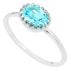 925 sterling silver 2.23cts solitaire natural blue topaz oval ring size 9 t8903
