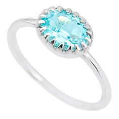 925 sterling silver 2.40cts solitaire natural blue topaz oval ring size 9 t8951