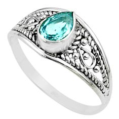 925 sterling silver 1.32cts solitaire natural blue topaz pear ring size 9 t51950