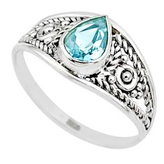 silver 1.31cts natural blue topaz pear graduation handmade ring size 9 t9466