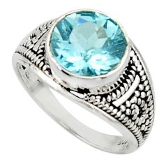 925 sterling silver 5.11cts solitaire natural blue topaz ring size 6.5 r40709