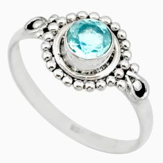 925 sterling silver 0.75cts solitaire natural blue topaz ring size 6 r87334