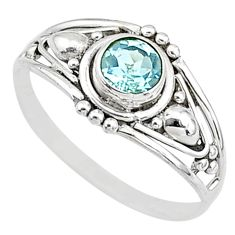 925silver 0.90cts natural blue topaz graduation handmade ring size 6 t9716