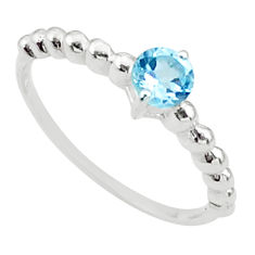 925 sterling silver 0.85cts solitaire natural blue topaz ring size 7 t36451