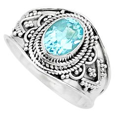 925 sterling silver 2.09cts solitaire natural blue topaz ring size 8.5 t10172