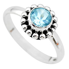 925 sterling silver 1.07cts solitaire natural blue topaz ring size 8.5 t19953