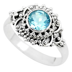 925 sterling silver 1.15cts solitaire natural blue topaz ring size 7.5 t19971