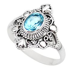 925 sterling silver 2.09cts solitaire natural blue topaz ring size 10.5 t27106