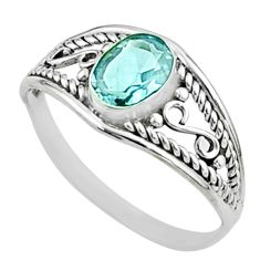 925 sterling silver 1.58cts solitaire natural blue topaz ring size 5.5 t51944