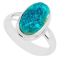 925 sterling silver 4.72cts solitaire natural dioptase oval ring size 6 t3291