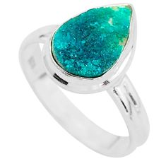 925 sterling silver 5.02cts solitaire natural dioptase pear ring size 8.5 t3269