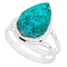 925 sterling silver 6.27cts solitaire natural dioptase pear ring size 7.5 t3273