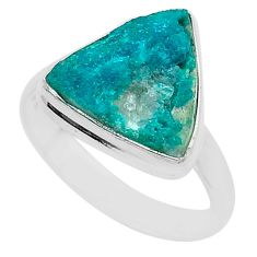 925 sterling silver 5.23cts solitaire natural dioptase ring jewelry size 8 t3311