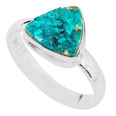 925 sterling silver 4.22cts solitaire natural dioptase ring jewelry size 9 t3266