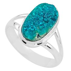 925 sterling silver 5.23cts solitaire natural dioptase ring size 7.5 t3284
