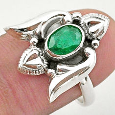 925 sterling silver 1.53cts solitaire natural emerald heart ring size 7 t40760