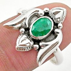 925 sterling silver 1.46cts solitaire natural emerald heart ring size 9 t40730