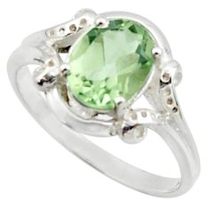 925 sterling silver 3.25cts solitaire natural green amethyst ring size 7 r40687