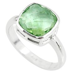 925 sterling silver 5.22cts solitaire natural green amethyst ring size 8 t11340