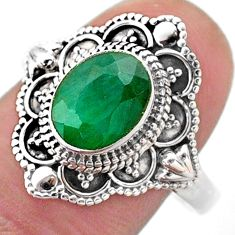 925 sterling silver 3.37cts solitaire natural green emerald ring size 10 t46650