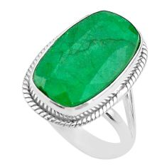 925 sterling silver 14.61cts solitaire natural green emerald ring size 10 t47243