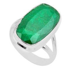 925 sterling silver 14.88cts solitaire natural green emerald ring size 10 t47255