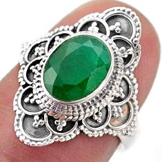 925 sterling silver 3.22cts solitaire natural green emerald ring size 6 t46588