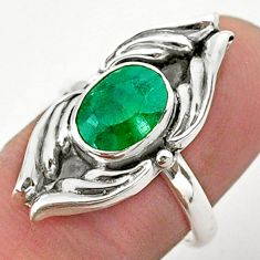 925 sterling silver 2.90cts solitaire natural green emerald ring size 7 t40671