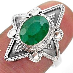 925 sterling silver 3.05cts solitaire natural green emerald ring size 7 t46633