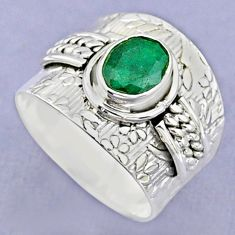 925 sterling silver 1.95cts solitaire natural green emerald ring size 8 t37190