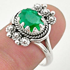 925 sterling silver 2.84cts solitaire natural green emerald ring size 8 t40647