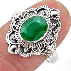 925 sterling silver 3.22cts solitaire natural green emerald ring size 9 t46671