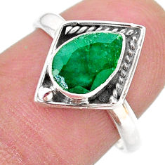 925 sterling silver 2.29cts solitaire natural green emerald ring size 7.5 t28397