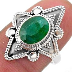 925 sterling silver 3.07cts solitaire natural green emerald ring size 7.5 t46629